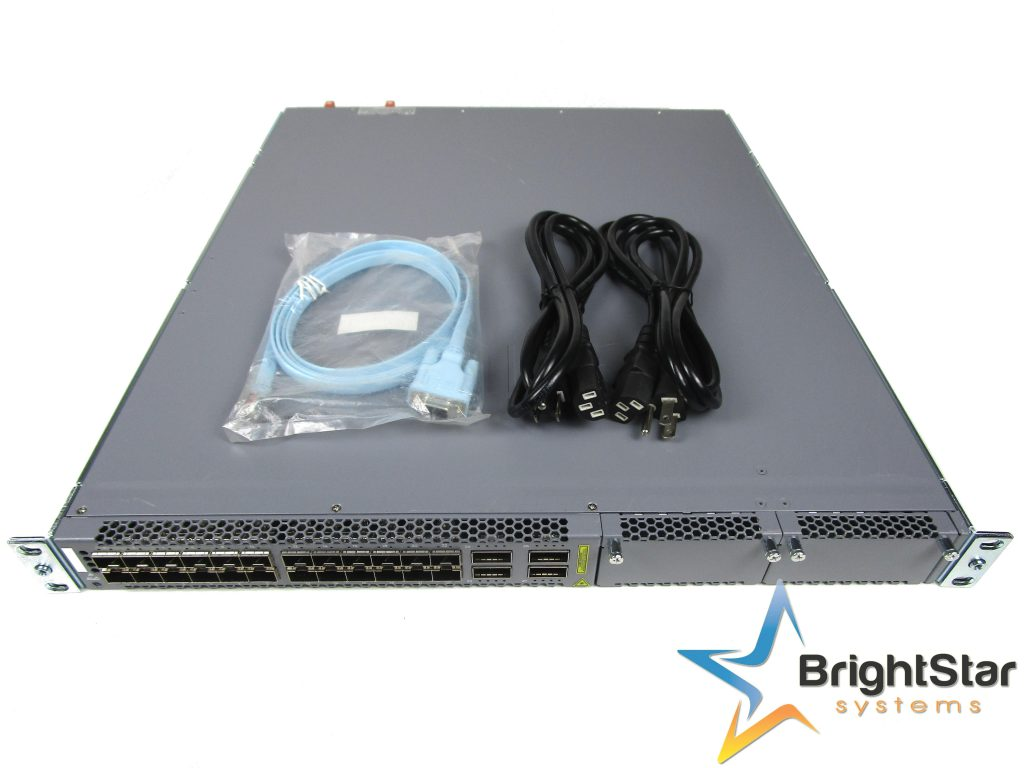 A pre-owned Juniper EX4600-40F-AFO Ethernet switch with cables.